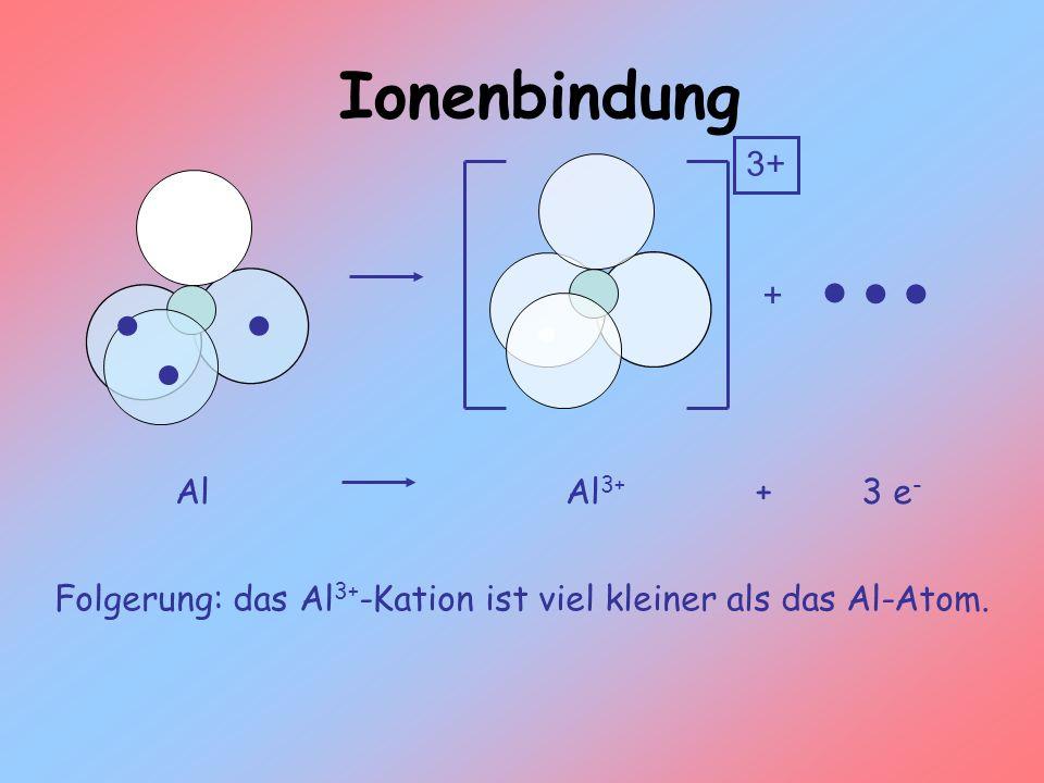 Folgerung: das Al3+-Kation ist viel kleiner als das Al-Atom.