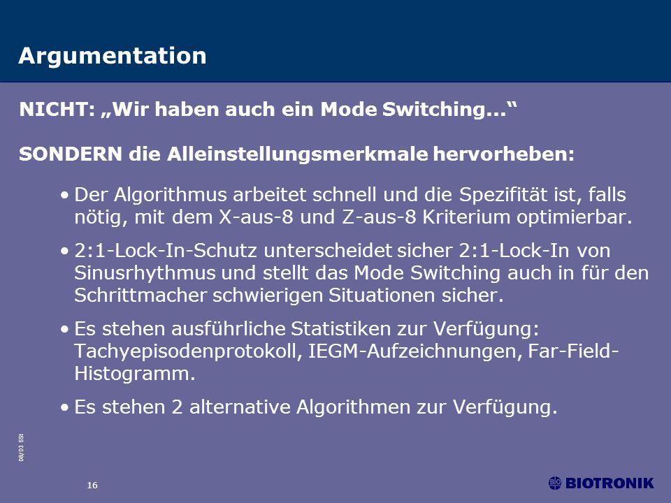 """Argumentation NICHT: """"Wir haben auch ein Mode Switching..."""