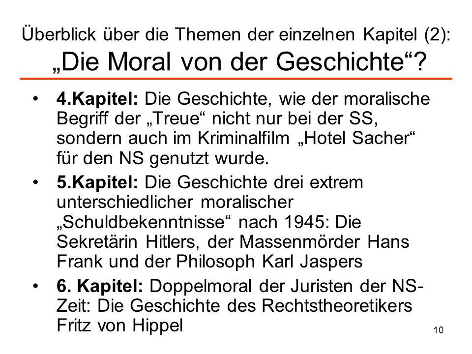 """Überblick über die Themen der einzelnen Kapitel (2): """"Die Moral von der Geschichte"""