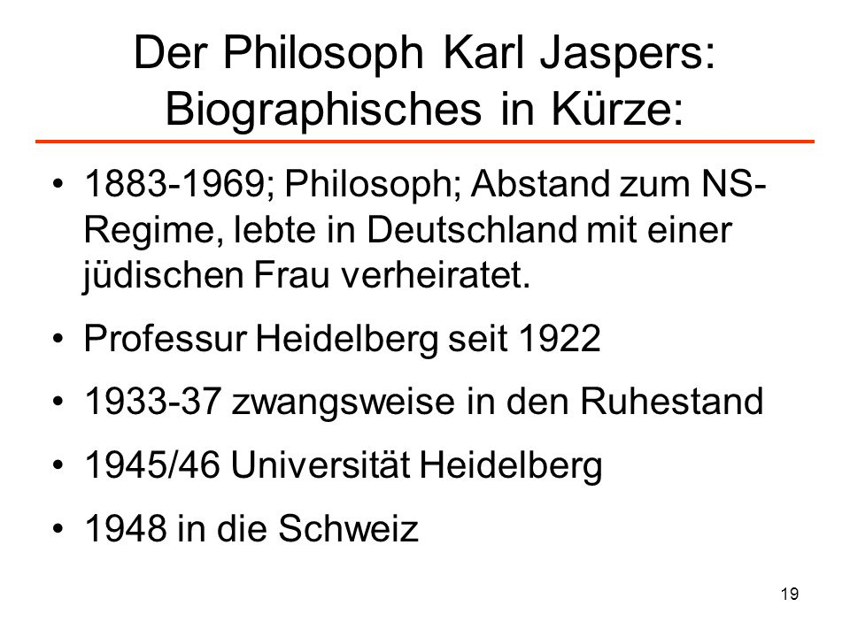 Der Philosoph Karl Jaspers: Biographisches in Kürze:
