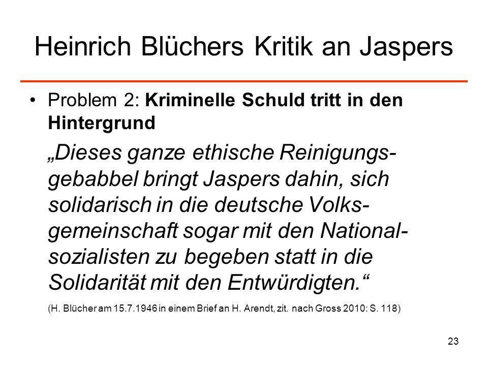 Heinrich Blüchers Kritik an Jaspers
