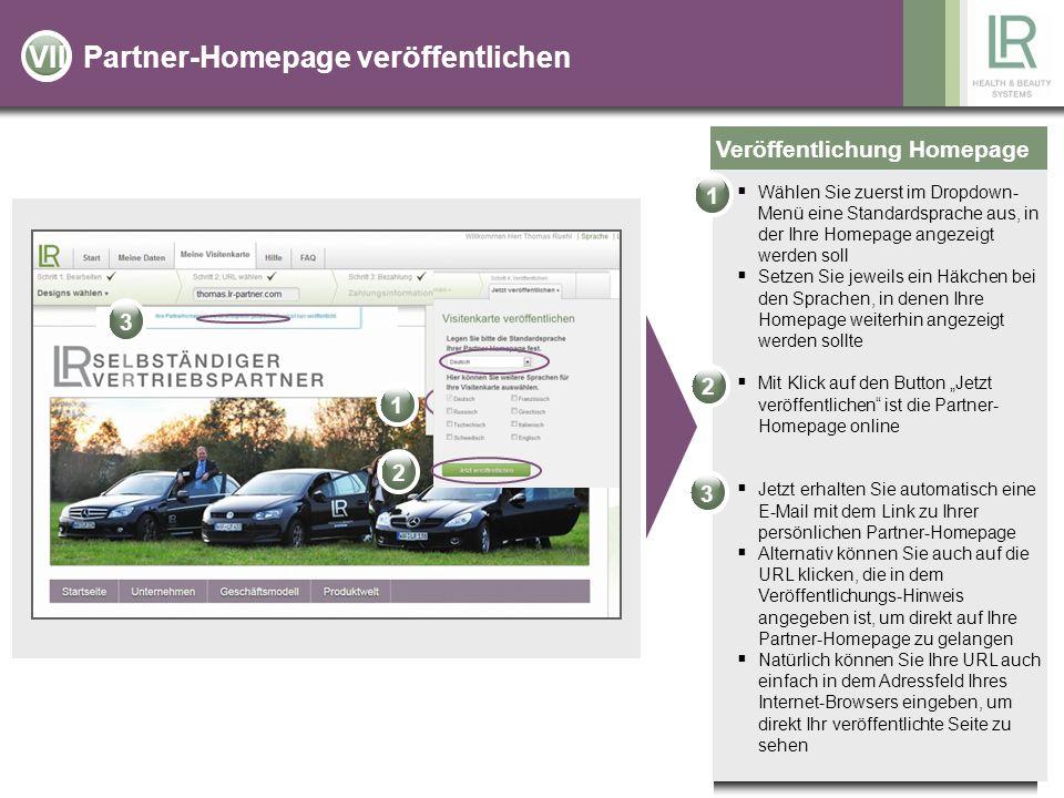 Partner-Homepage veröffentlichen