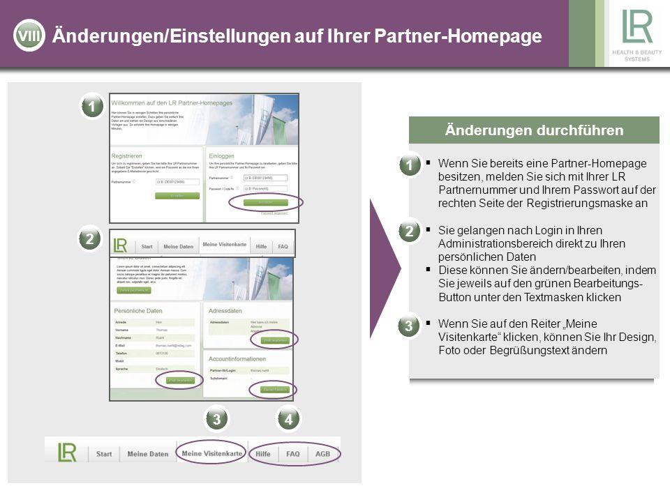 Änderungen/Einstellungen auf Ihrer Partner-Homepage