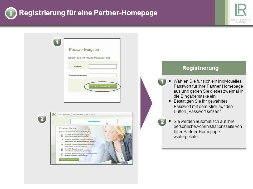 Registrierung für eine Partner-Homepage