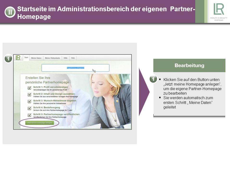 Startseite im Administrationsbereich der eigenen Partner-Homepage