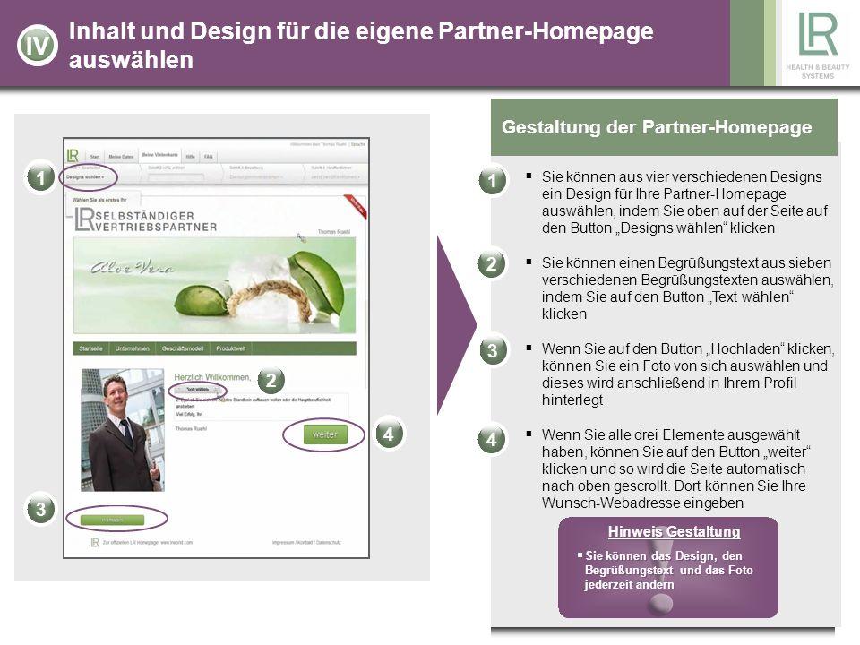 Inhalt und Design für die eigene Partner-Homepage auswählen