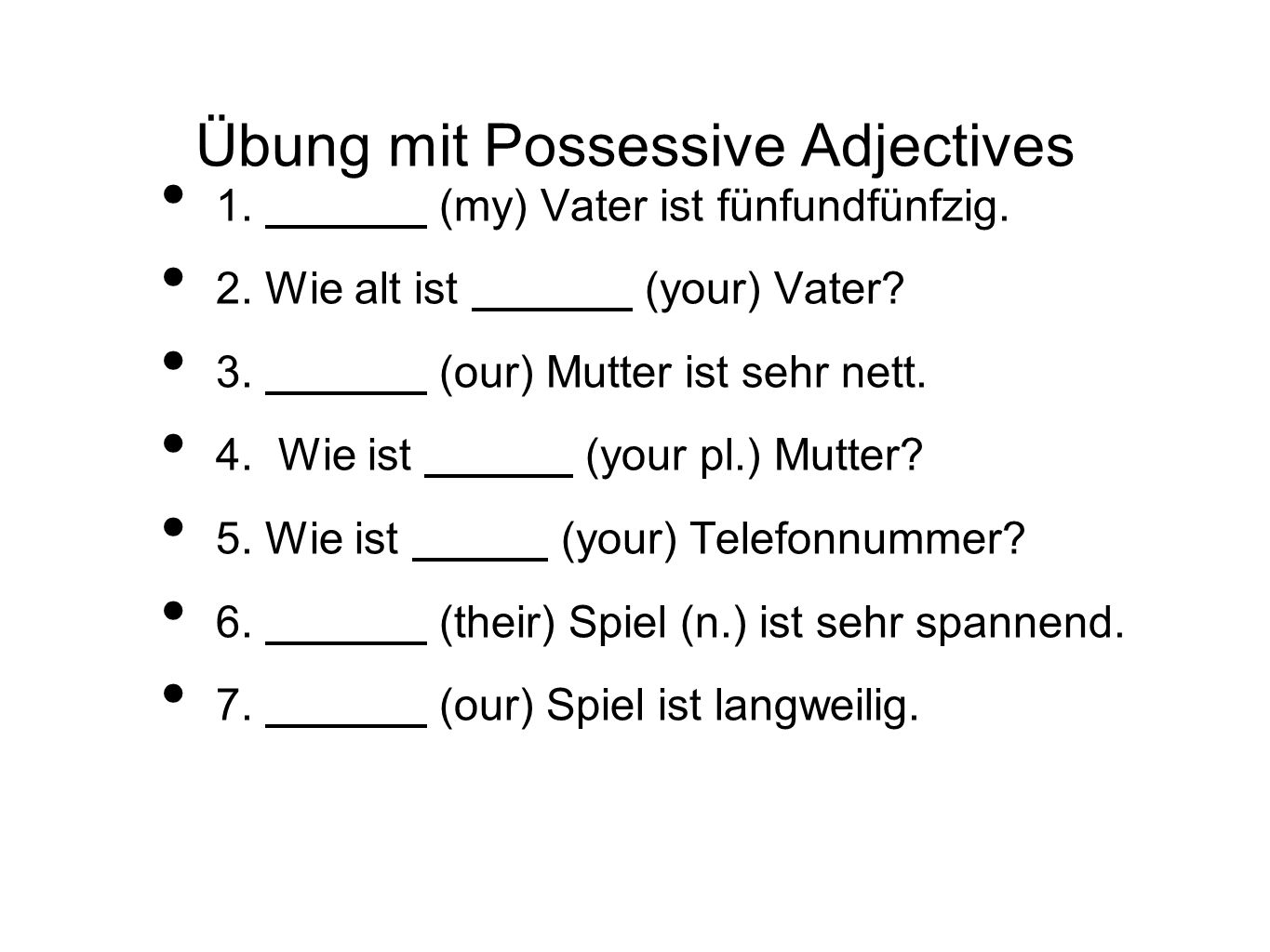 Übung mit Possessive Adjectives