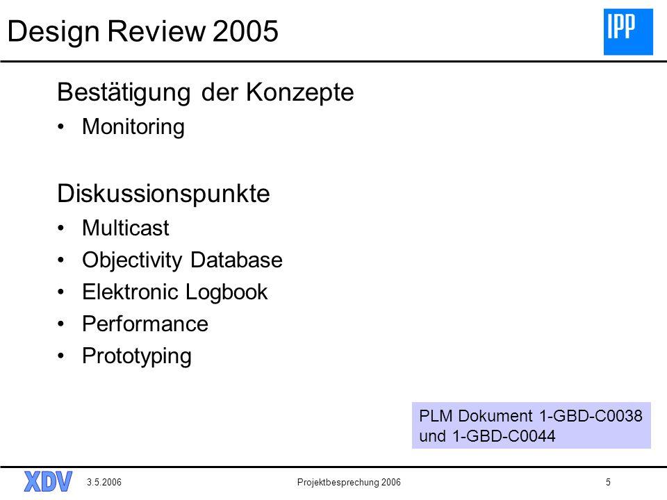 Design Review 2005 Bestätigung der Konzepte Diskussionspunkte