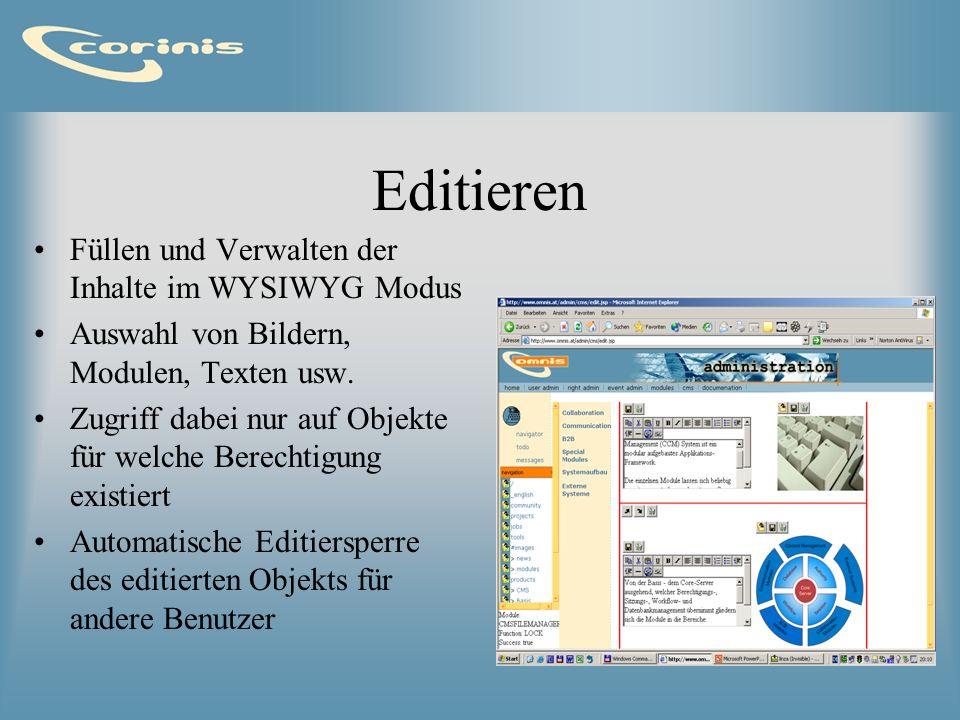 Editieren Füllen und Verwalten der Inhalte im WYSIWYG Modus