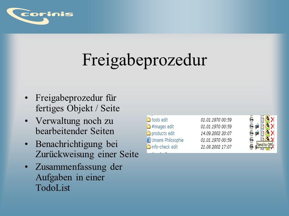 Freigabeprozedur Freigabeprozedur für fertiges Objekt / Seite
