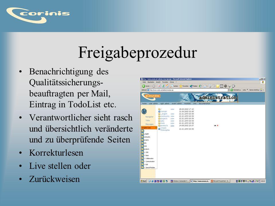 FreigabeprozedurBenachrichtigung des Qualitätssicherungs-beauftragten per Mail, Eintrag in TodoList etc.