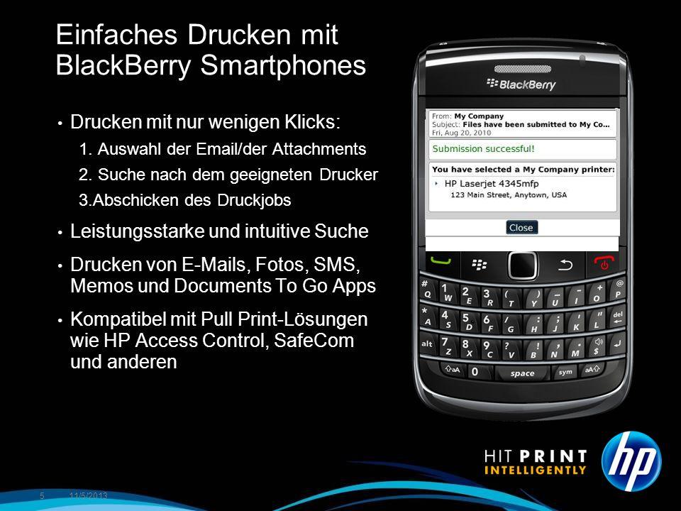 Einfaches Drucken mit BlackBerry Smartphones