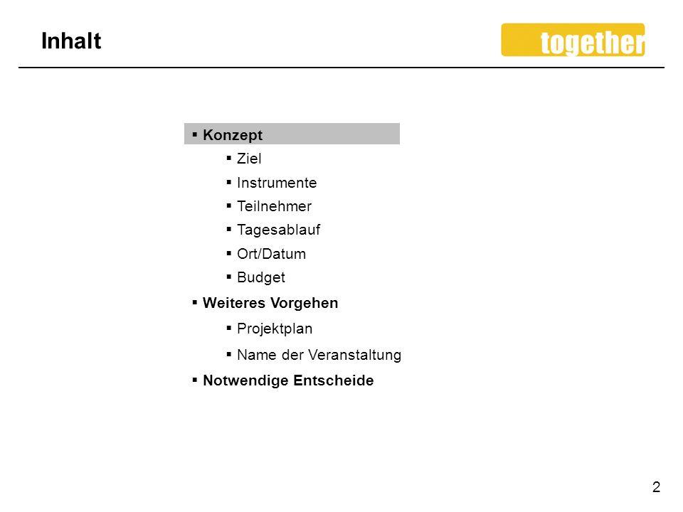 Inhalt Konzept Ziel Instrumente Teilnehmer Tagesablauf Ort/Datum