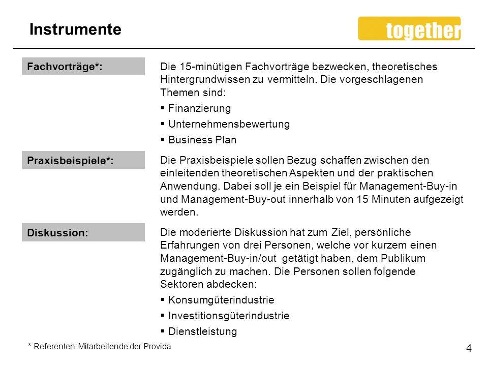 Instrumente Fachvorträge*: