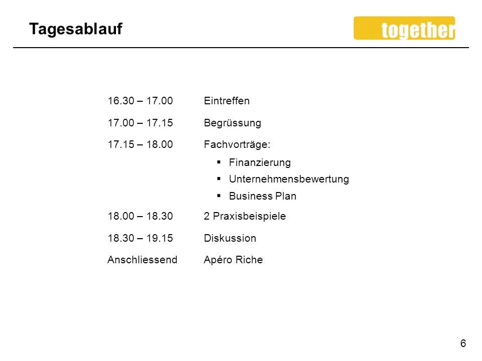 Tagesablauf 16.30 – 17.00 Eintreffen 17.00 – 17.15 Begrüssung