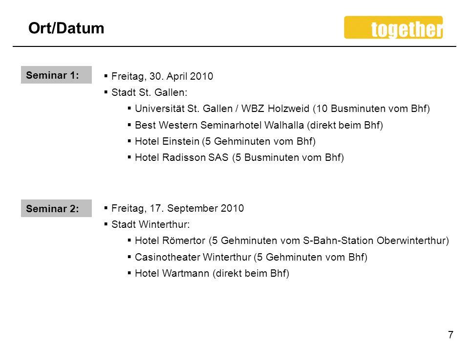 Ort/Datum Seminar 1: Freitag, 30. April 2010 Stadt St. Gallen:
