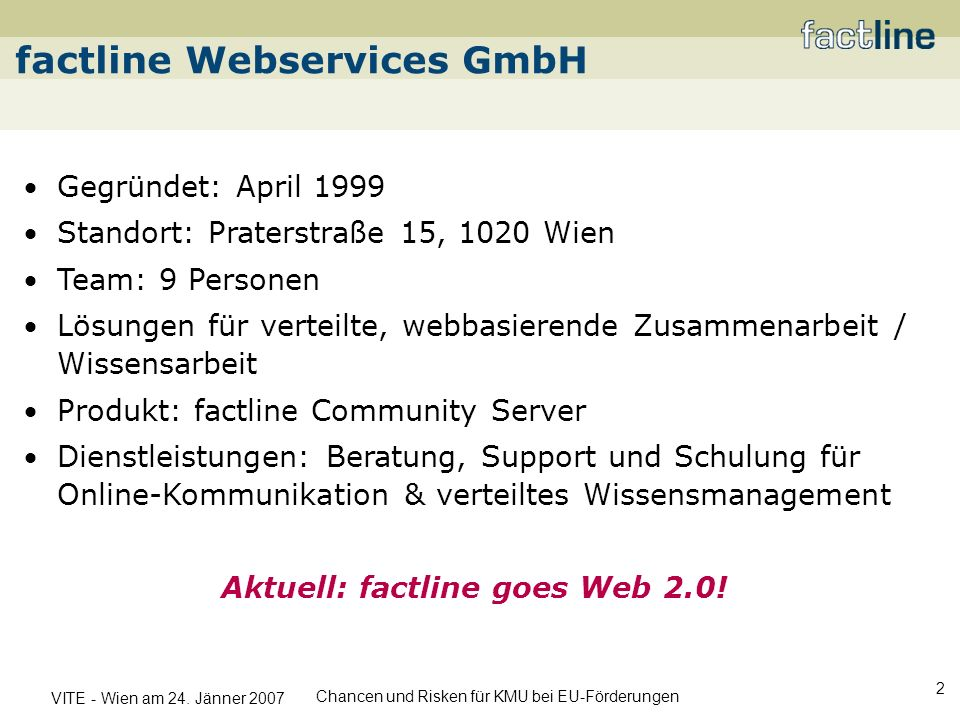 Aktuell: factline goes Web 2.0!