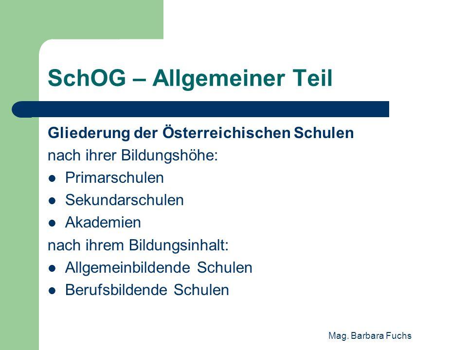 SchOG – Allgemeiner Teil