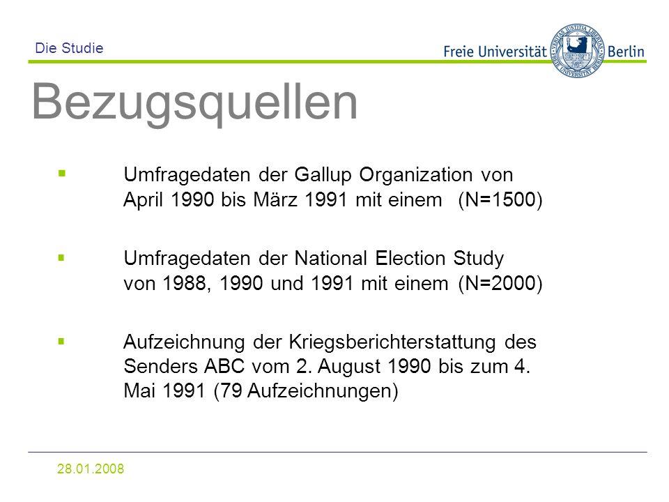 Die Studie Bezugsquellen. Umfragedaten der Gallup Organization von April 1990 bis März 1991 mit einem (N=1500)