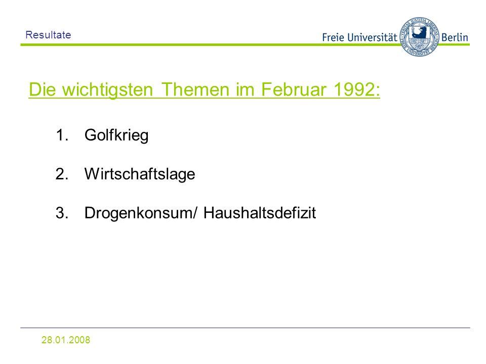 Die wichtigsten Themen im Februar 1992:
