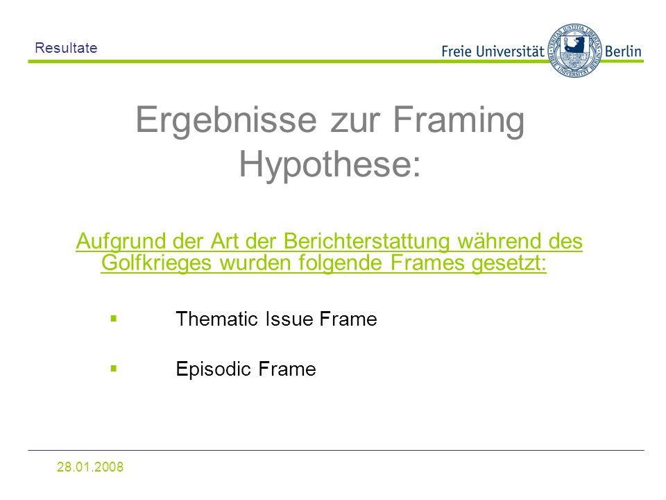 Ergebnisse zur Framing Hypothese: