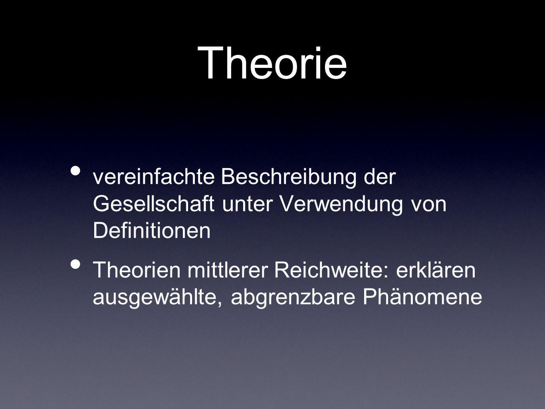 Theorie vereinfachte Beschreibung der Gesellschaft unter Verwendung von Definitionen.