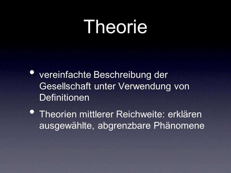 Theorievereinfachte Beschreibung der Gesellschaft unter Verwendung von Definitionen.