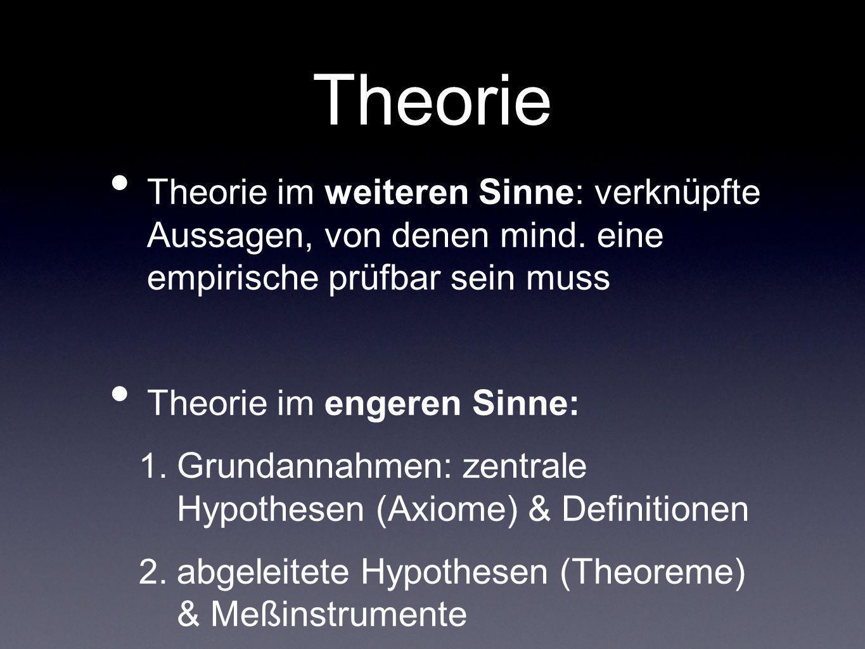 Theorie Theorie im weiteren Sinne: verknüpfte Aussagen, von denen mind. eine empirische prüfbar sein muss.