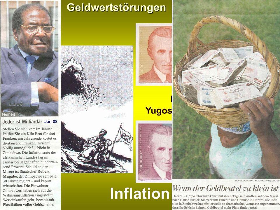 Inflation Geldwertstörungen Banknoten aus Yugoslawien/Serbien 1993