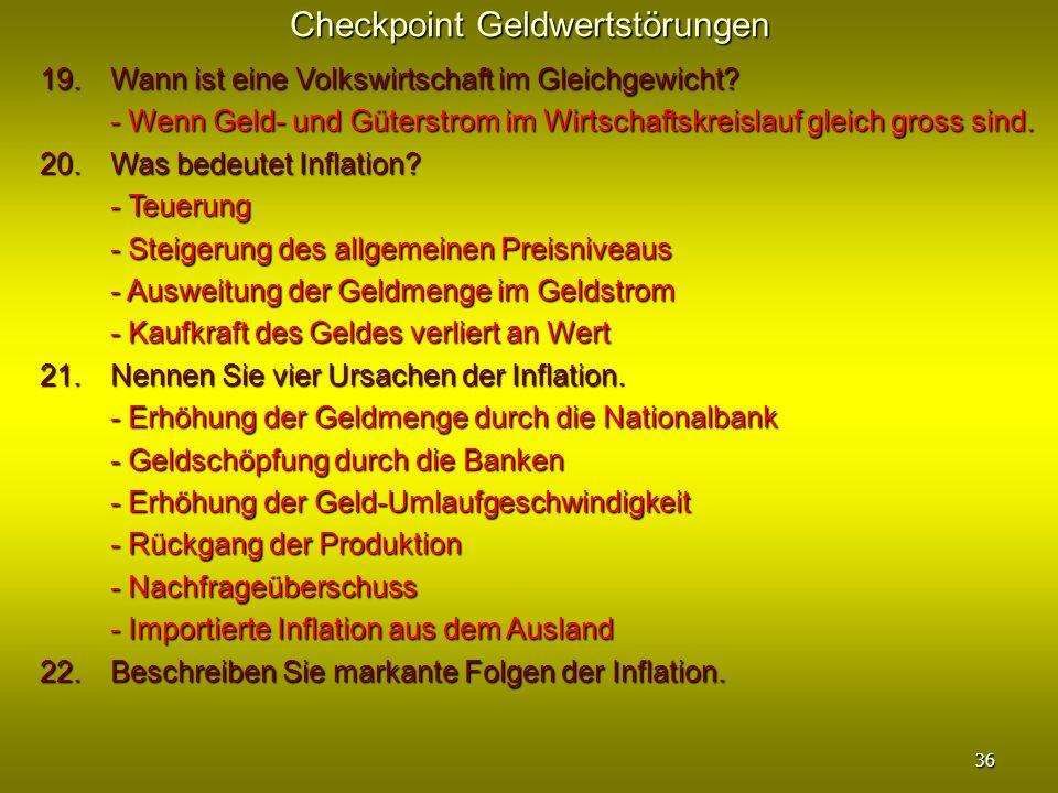 Checkpoint Geldwertstörungen