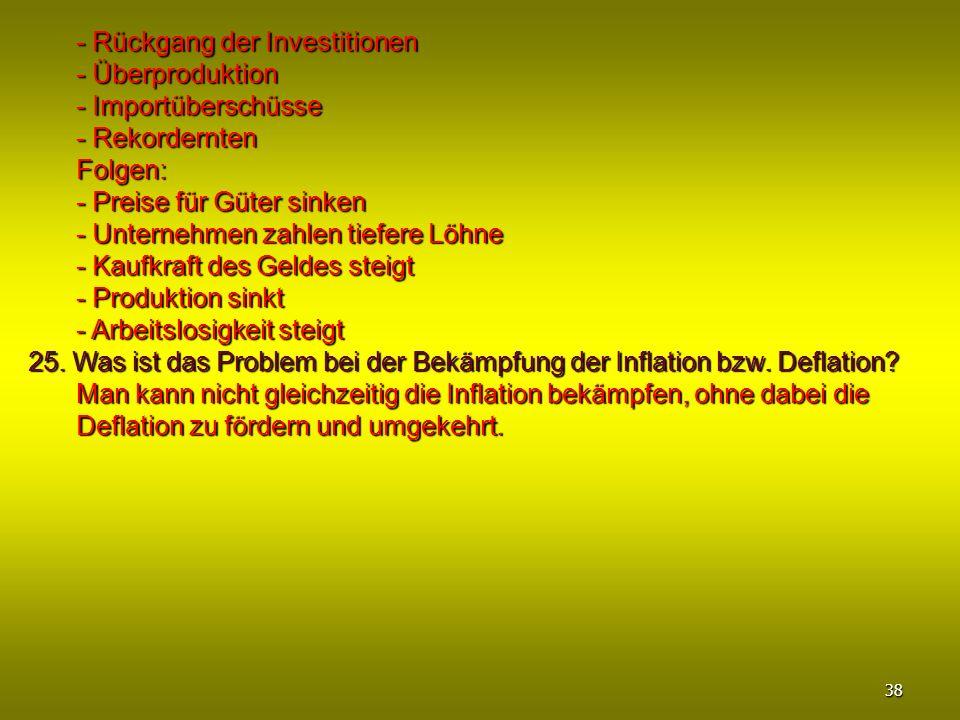 - Rückgang der Investitionen