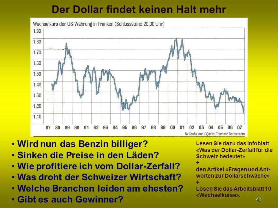 Der Dollar findet keinen Halt mehr