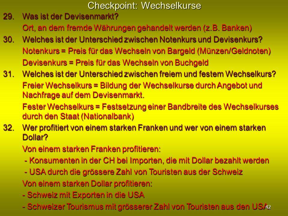 Checkpoint: Wechselkurse