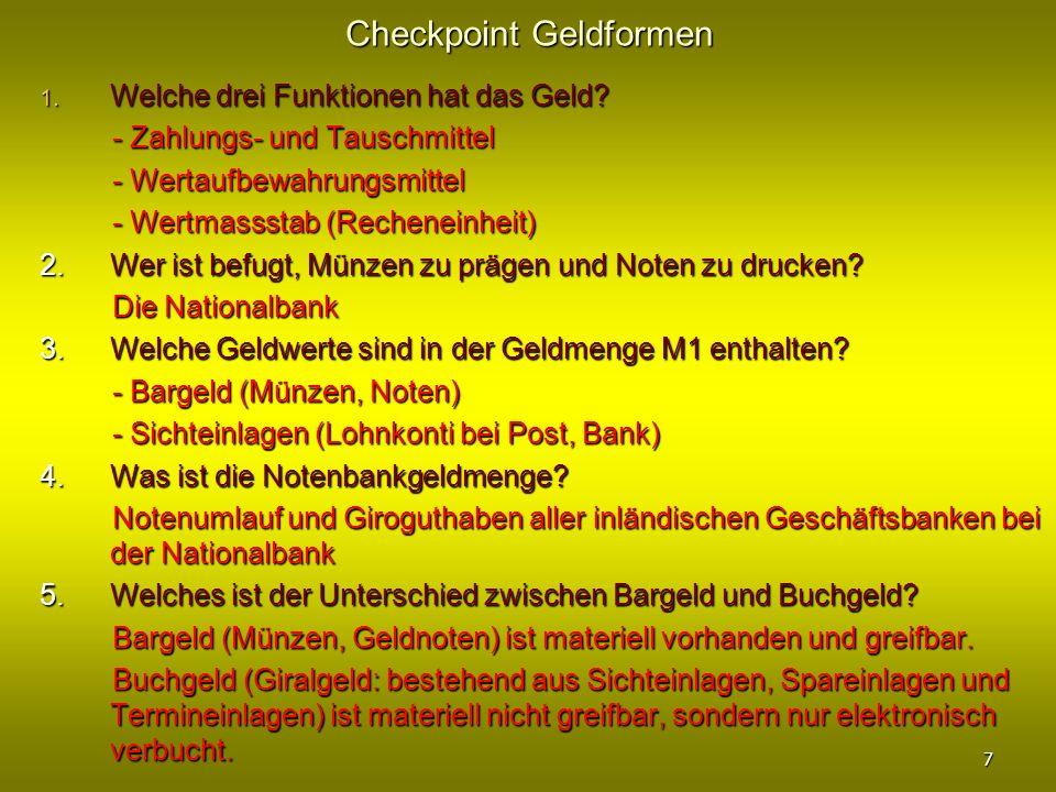 Checkpoint Geldformen