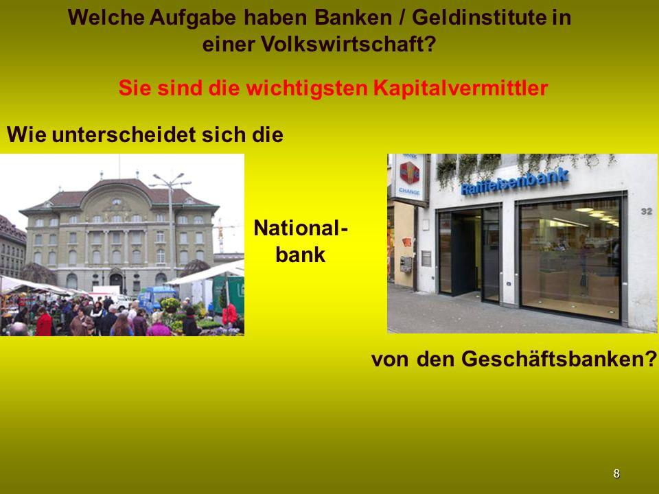 Welche Aufgabe haben Banken / Geldinstitute in einer Volkswirtschaft
