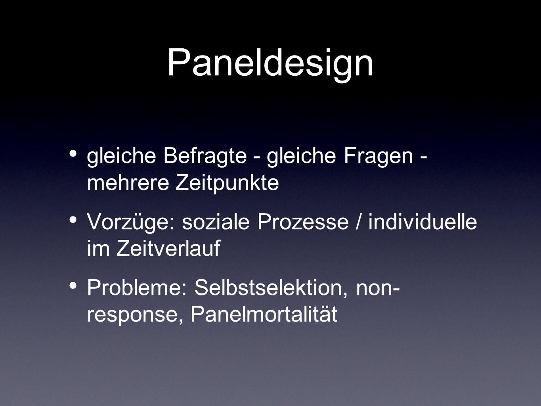 Paneldesign gleiche Befragte - gleiche Fragen - mehrere Zeitpunkte