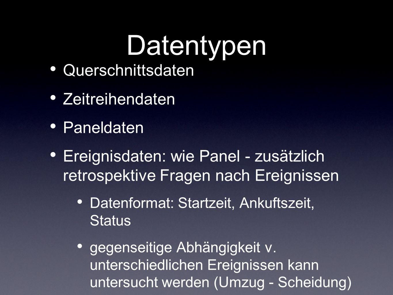 Datentypen Querschnittsdaten Zeitreihendaten Paneldaten