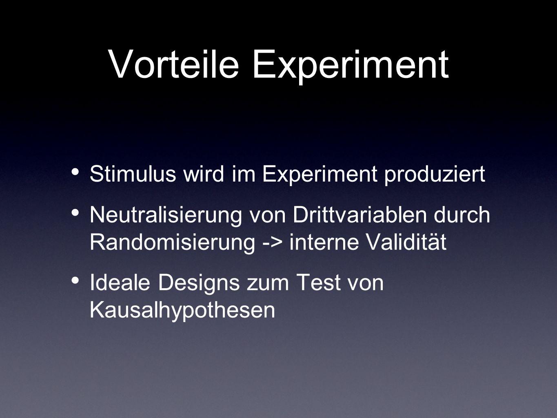 Vorteile Experiment Stimulus wird im Experiment produziert