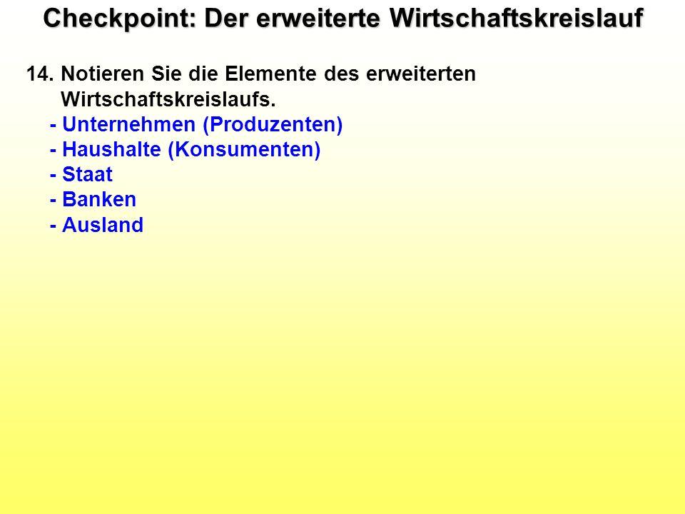 Checkpoint: Der erweiterte Wirtschaftskreislauf