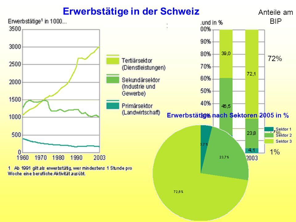 Erwerbstätige nach Sektoren 2005 in %