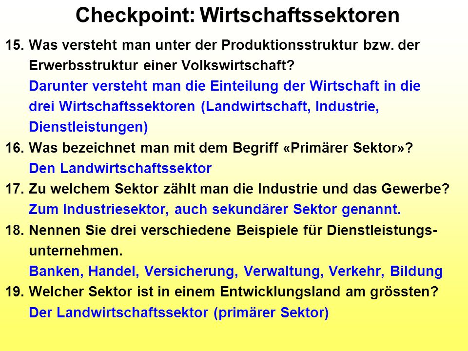 Checkpoint: Wirtschaftssektoren