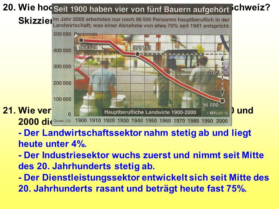 20. Wie hoch ist der Anteil der drei Sektoren in der Schweiz