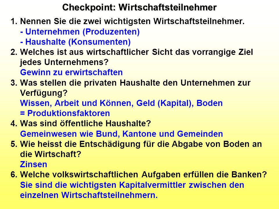 Checkpoint: Wirtschaftsteilnehmer