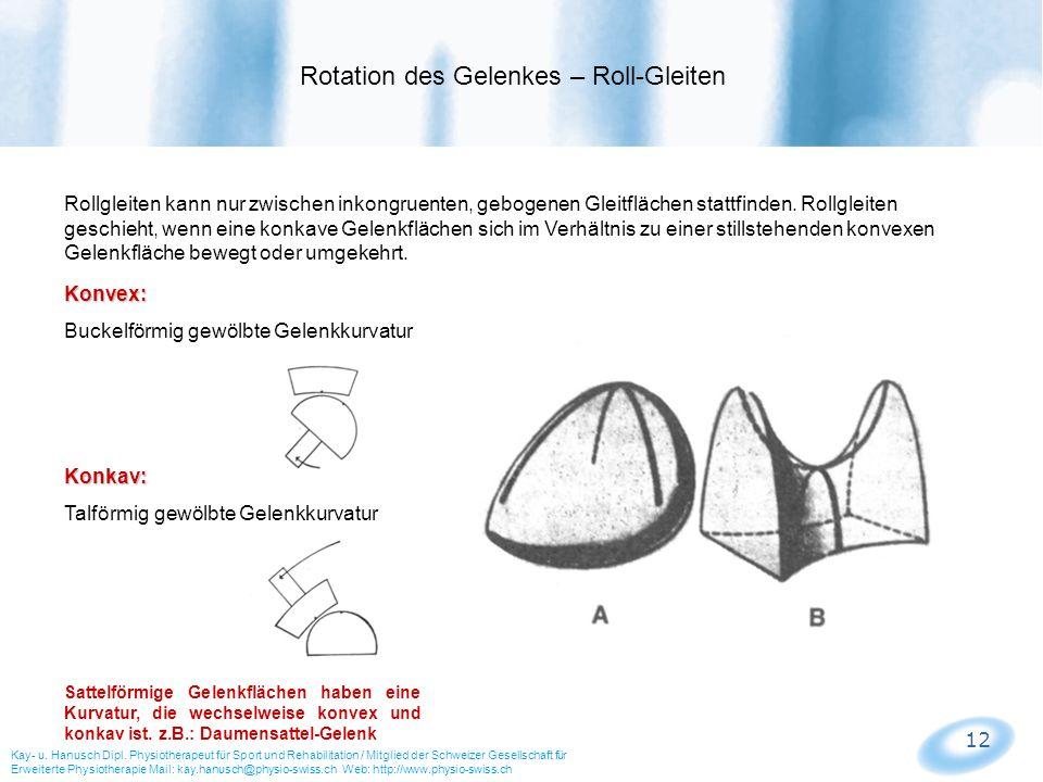 Rotation des Gelenkes – Roll-Gleiten