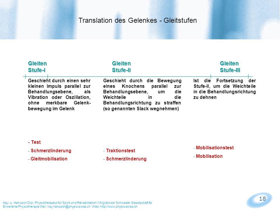 Translation des Gelenkes - Gleitstufen