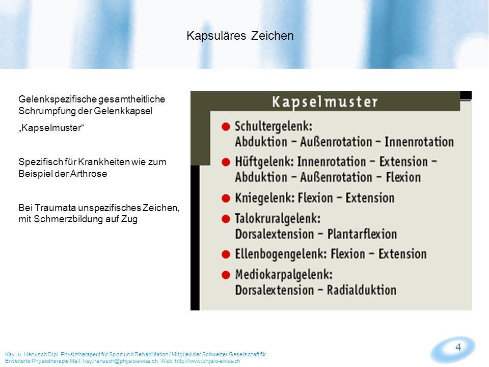 """Kapsuläres Zeichen Gelenkspezifische gesamtheitliche Schrumpfung der Gelenkkapsel. """"Kapselmuster"""