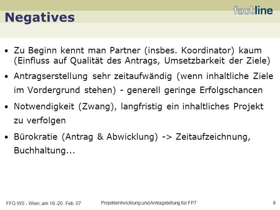 Negatives Zu Beginn kennt man Partner (insbes. Koordinator) kaum (Einfluss auf Qualität des Antrags, Umsetzbarkeit der Ziele)