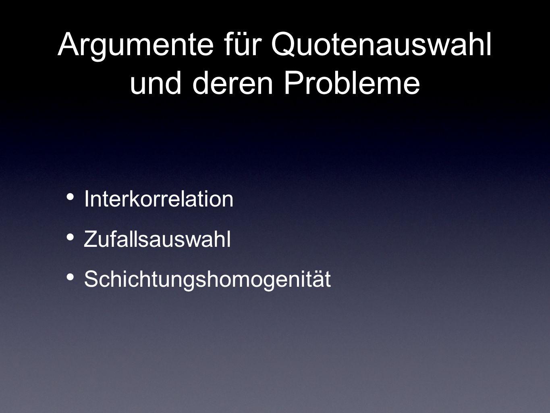 Argumente für Quotenauswahl und deren Probleme