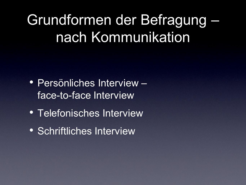 Grundformen der Befragung – nach Kommunikation