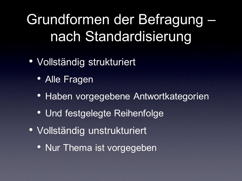 Grundformen der Befragung – nach Standardisierung